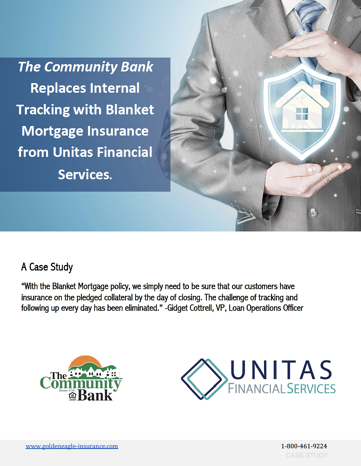 The Community Bank Replaces Internal Tracking with Blanket Mortgage Insurance from Unitas Financial Services Case Study